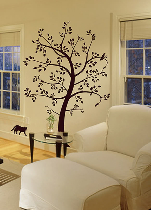 BIG TREE CAT & BIRD Wall Decal Deco Art Sticker Mural Plus Big Size Vinyl Tree Wall Stickers For Kids Room Babay Wall Decals 802