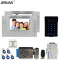 JERUAN 7`` video door phone Record intercom system Kit 2 monitor New waterproof Touch Key password keypad Camera 8G SD Card Free