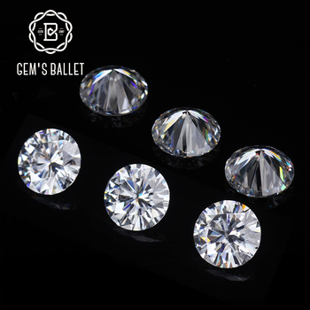 GEM'S BALLET 0.8Ct 6.0mm Round Moissanite D Color VVS Clarity Hearts and Arrows Cut Lab Grown Loose Gemstone for Jewelry Making