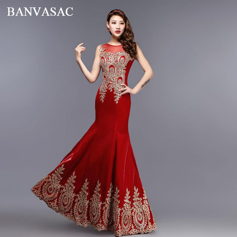 BANVASAC 2018 Illusion O Neck Crystal Mermaid Long   Evening     Dresses   Elegant Party Lace Appliques Tank Prom Gowns