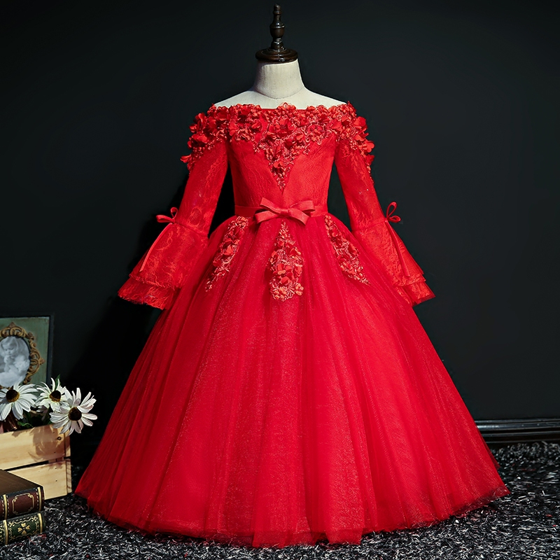 Royal Princess Dress Shoulderless Flower Ball Gown Beading Dresses Flare Sleeve Luxury Kids Pageant Evening Dress for Party D124 2018 royal princess shoulderless flower ball gown dress long tailing sweet luxury backless kids pageant for birtyday party dress