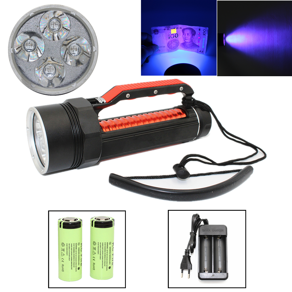 Uranusfire Underwater Diving Flashlight 4 x UV LED High Power Ultraviolet 395nm Purple Light Waterproof  Torch Linterna waterproof ultraviolet diving light 3x uv led lamp diving flashlight scuba torch dive lanterna pcb 26650 battery eu charger