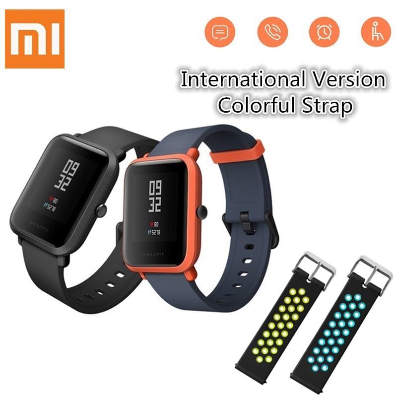 Huami Amazfit smartwatch Relógio Inteligente xiaomi Bip Pouco Rosto de Freqüência Cardíaca De Fitness GPS Tacker IP68 À Prova D' Água suporte Transporte da gota