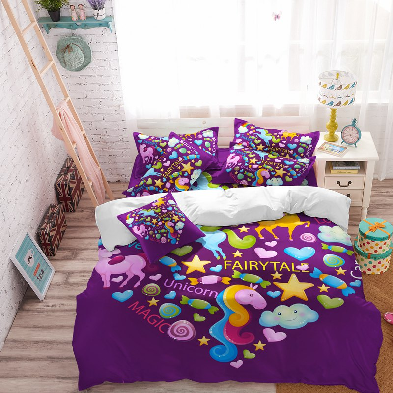 Kawaii Bed Sheets Purple Bedding Unicorn Horse Bed Linen Believe Miracles Cartoon Single Bed Duvet Cover Animal For Kids F