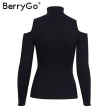BerryGo Turtleneck cold shoulder pink knitted sweater