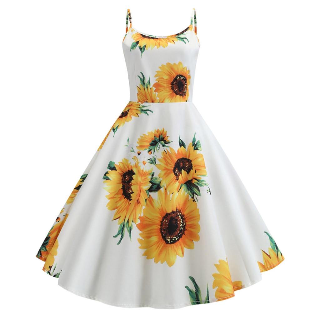 Diplomatisch Frauen Vintage Große Sonnenblume Druck Kleid Damen Eine Linie Spaghetti Strap Abendessen Kleider Abend Party Formale Schaukel Kleid Vestidos