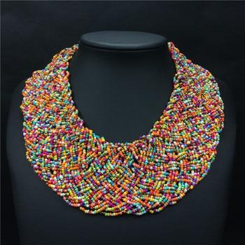 bbbed58dfaac Hecho a mano collar de perlas de Bohemia Boho collar étnico de ancho gargantilla  collares Bohemia mujeres accesorios Collier Ethnique Boheme