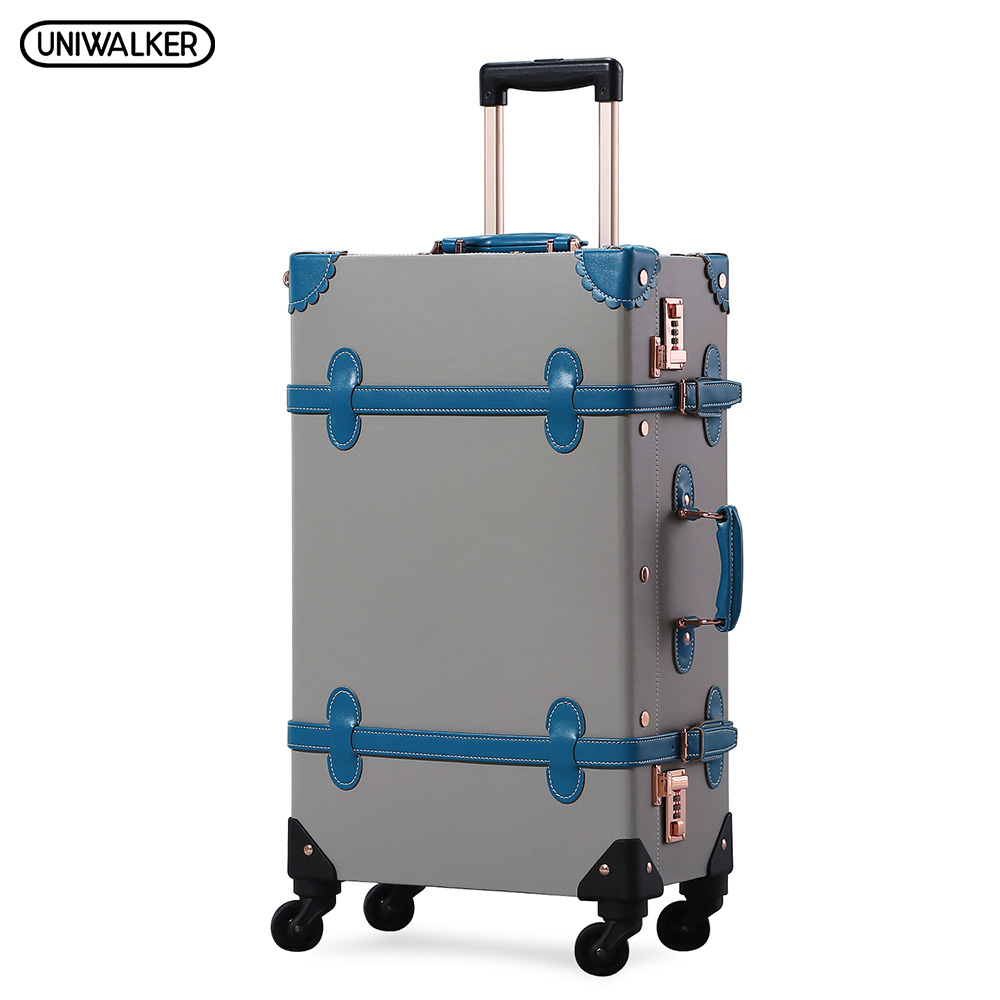 UNIWALKER Retro PU Leather Rolling Luggage Travel Trolley Vintage Suitcase with Spinner Wheels Fashion Luggage Hardside Roll 2018 new retro spinner suitcase refreshing suitcase student travel luggage rolling leather travel luggage free shipping trave