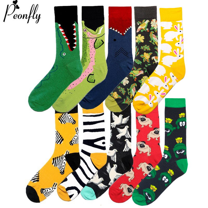 PEONFLY Men Fashion Printing Cartoon Crocodile Shark Zebra Dog Sloth Koala  Flower Bird Colorful Socks Soft Comfort Cotton Socks