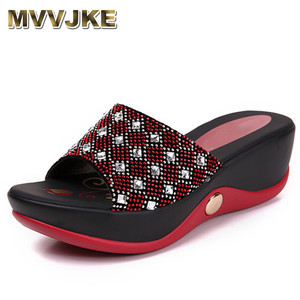 MVVJKE Real Leather Women's Shoes, Summer Sandals Girls 40 Rhinestone Casual Slippers Rihanna Slides(China)