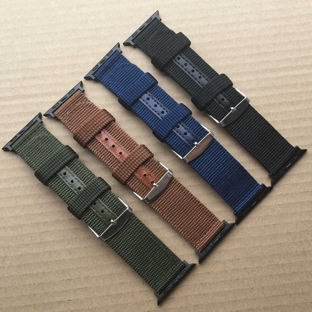 Hot Sell Nylon Watchband for Apple Watch Band Series 3/2/1 Sport Leather Bracelet 42 mm 38 mm Strap For iwatch Band