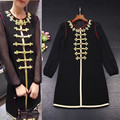 New High Fashion 2017 Black Dress Women Golden Button Embroidery Long Sleeve Straight Loose Dress Vestido Tunic Clothing Female