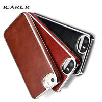 ICarer For IPhone 5 Case Luxury Retro Genuine Leather Hard Plastic Armor Back Protective Phone Case