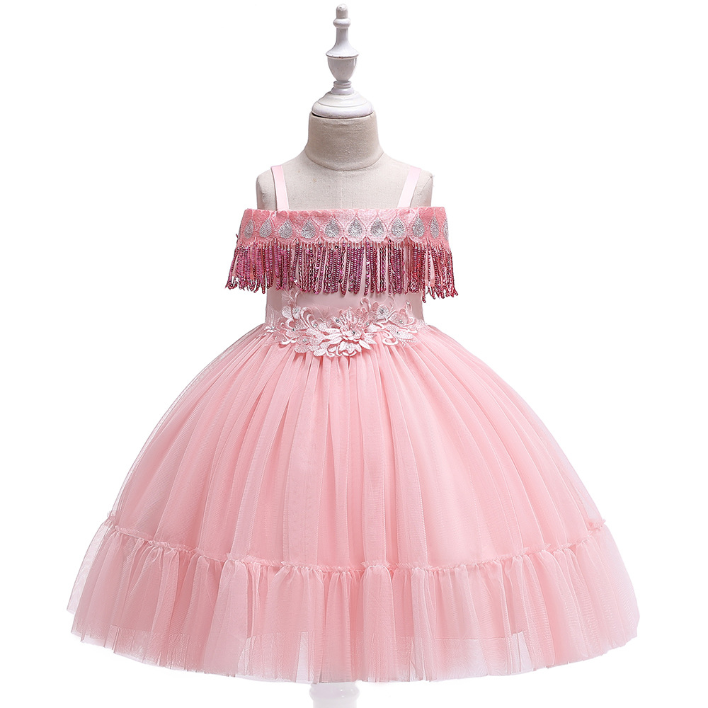 Ballgown Flower Girls Dresses for Wedding Pink  Lace Appliques  First Communion Dresses Pageant Dress in Stock