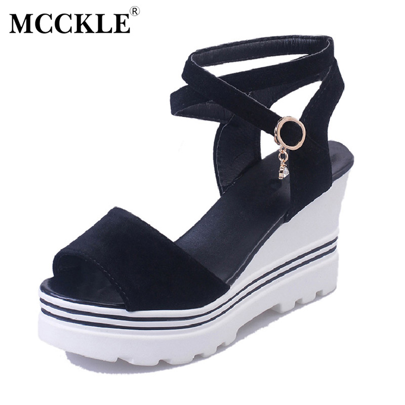 MCCKLE 2017 Fashion Women Shoes Woman Sandals Black Platform Buckle Peep Toe Wedges Summer New Casual Comfortable Ankle Strap phyanic gold silver wedges sandals 2017 new platform casual shoes woman summer buckle creepers bling flats shoes phy4040