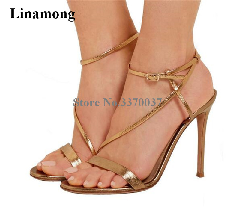 Summer New Fashion Women Open Toe Gold Black Thin Straps Gladiator Sandals Ankle Strap Thin High Heel Sandals Dress Shoes цены онлайн