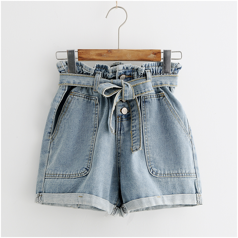 New Summer Fashion Elastic High Waist Denim Shorts Women Casual Sashes Wide Legs Shorts Slim Loose All-Match Shorts Famale Mw410