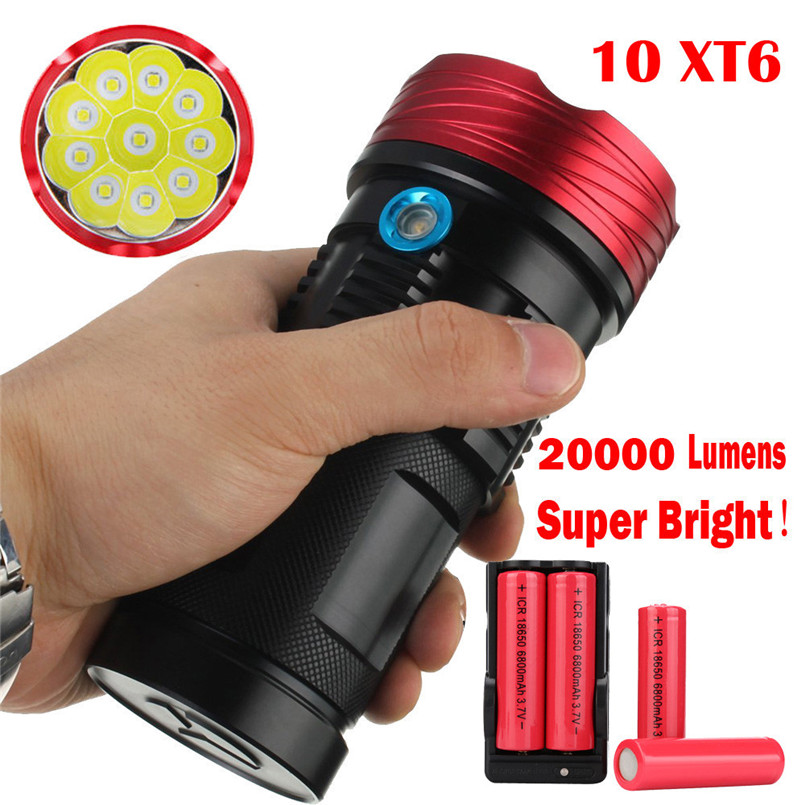 2017  New Goods Waterproof 20000Lumen 10x XML T6 LED Flashlight Torch Tactical Hunting Lamp A1 mini portable xml t6 keychain led flashlight torch 3 mode 1600 lumen lighting lamp red zaklamp good quality