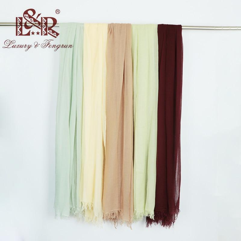 2018 Luxury Brand Women Silk Scarf Foulard Modal Chiffon Hijab Kvinna - Kläder tillbehör - Foto 1