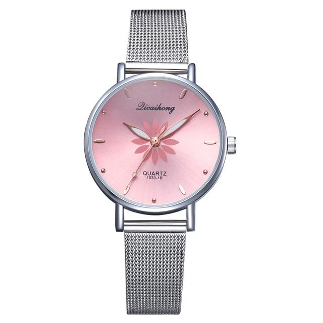 Women's Wristwatches Luxury Silver Popular Pink Dial Flowers Metal Ladies Bracelet Quartz Clock Fashion Wrist Watch 2019 Top 5