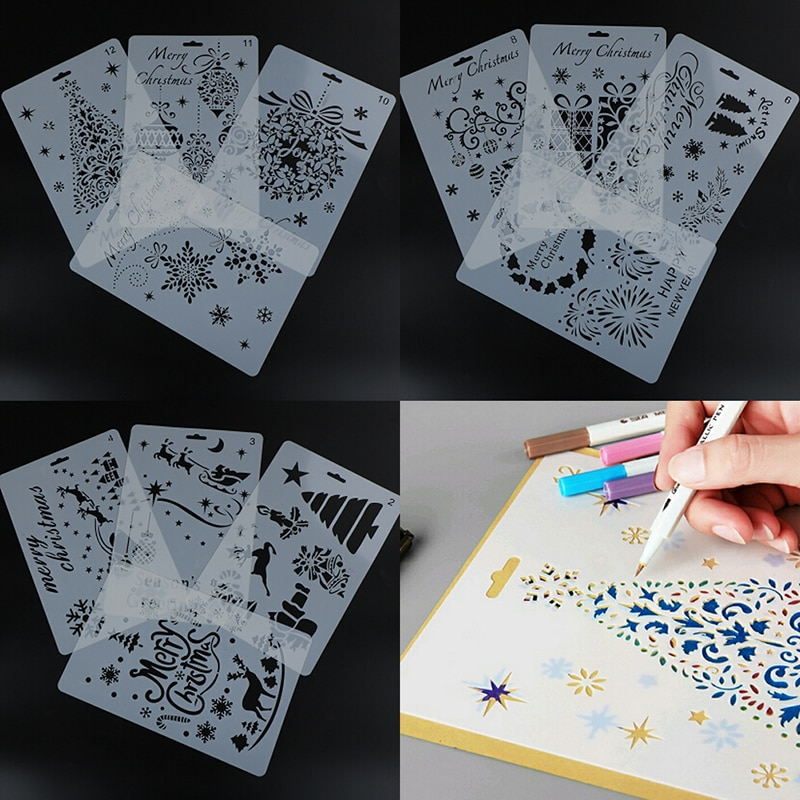 12 Styles DIY Craft Christmas Layering Stencils For Walls Painting Scrapbooking Stamp Album Decor Embossing Paper Card Template