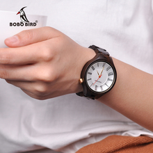 Bobo pássaro senhoras de luxo relógio de madeira banda requintado relógios quartzo feminino como presente transporte da gota