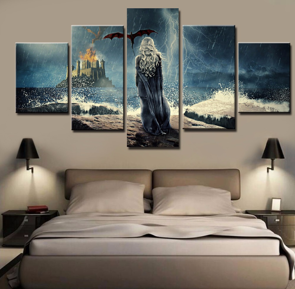 Canvas painting 5 pieces game of thrones pictures modern canvas printed home decor for living for Decoration maison games