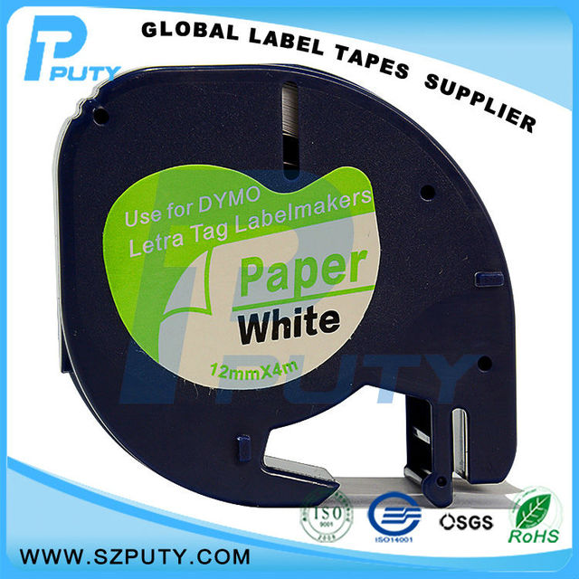 Compatible Black On White 91200 12mm Label Tapes For Dymo Letratag