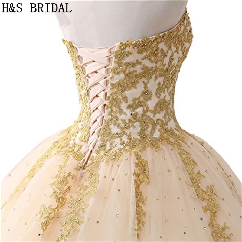 H&S BRIDAL Ball Gown Quinceanera Dresses Woman Party Gowns Long robe de soiree sequins Prom Dresses In Stock-in Quinceanera Dresses from Weddings & Events    3
