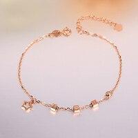 Robira Yeni Sıcak Satış Moda Yıldız Charm Bilezikler 18 K Rose Gold için Lover best friend Charms Ayarlanabilir Bilezikler Takı kadınlar