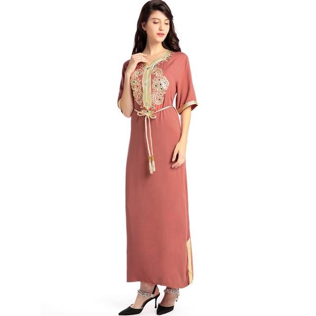 a1d70c88e61e09 Moslim Vrouwen lange mouw lange jurk islamitische kleding kaftan caftan  marokkaanse maxi lange Abaya turkse