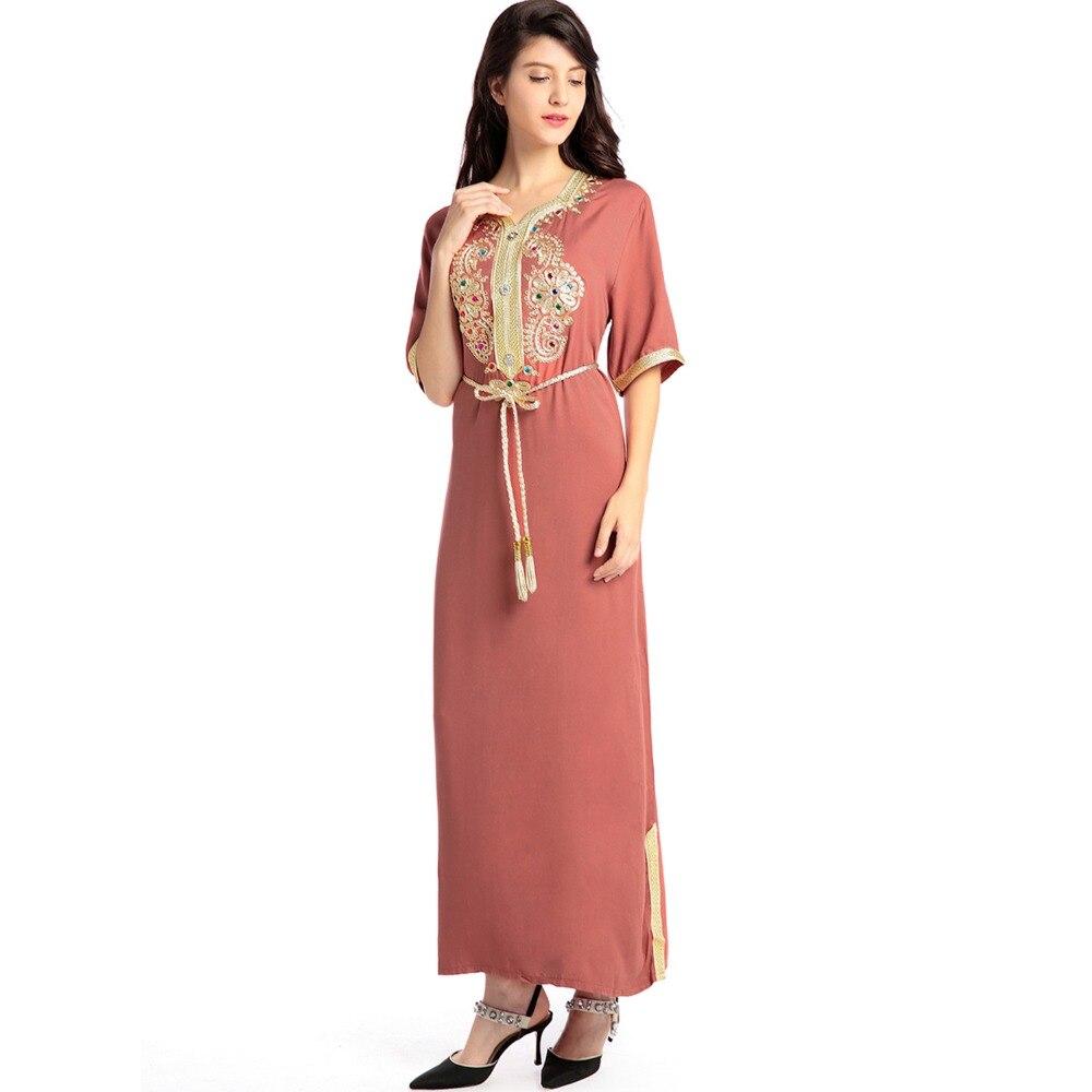 Moslimvrouwen lange mouw lange jurk islamitische kleding kaftan - Dameskleding