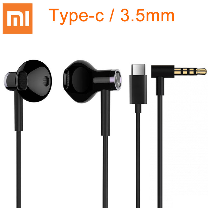 Xiaomi Hybrid DC Earphone Type-C 3 5mm Plug Half In-Ear USB Wired Control MEMS Microphone BRE02JY Mi Dual Driver Earphones