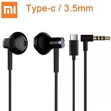 Xiaomi hibrid DC kulaklık tipi C 3.5mm fişi yarım kulak USB kablolu kontrol MEMS mikrofon BRE02JY mi çift sürücü kulaklık
