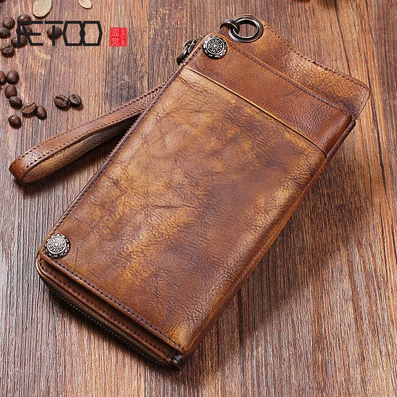AETOO Handmade leather wallet long wallet retro men hand bag leather large capacity zipper phone bag organizer Vintage zuoyi crocodile leather original zipper snap multifunctional in large capacity and long wallet