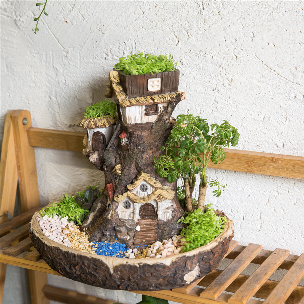 Moderna Fairy Garden Miniatyr Stump Resin Blomsterkruka Cartoon Treehouse Skulptur Suckulent Planter Balkong Meaty Plant Flowerpot