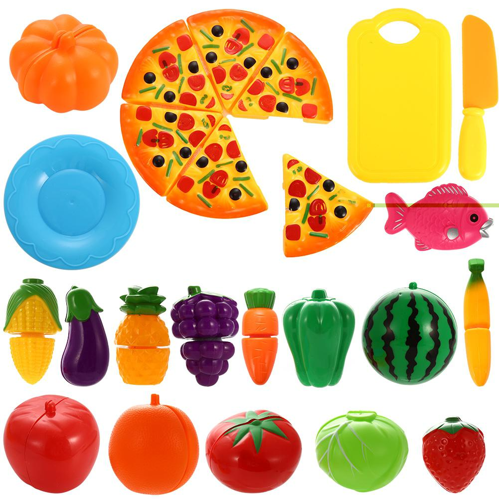 54Pcs Simulate Kitchen Slicing Toy Set Kids Fruit Vegetable Cooking Toy G6 Zauberartikel & -tricks