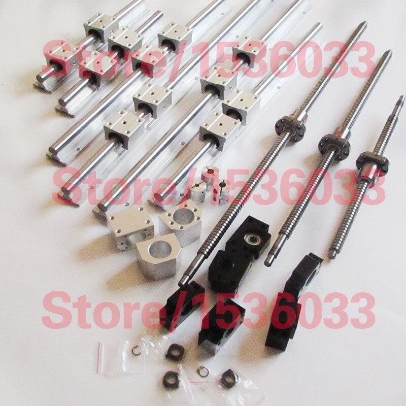 6 pz SBR16 del binario di guida lineare Rail + 3 pz SFU1204 SFU1605 viti a sfere RM1605 vite balls RM1204 + 3 set di BK12BF12 /BK10BF10 + 3 pz accoppiamento