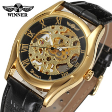 Winner Men's Watch New Trendy Gold Skeleton Roman Numbers Alloy Case Mechanical Hand-wind Wristwatch Color Gold WRG8050M3G1
