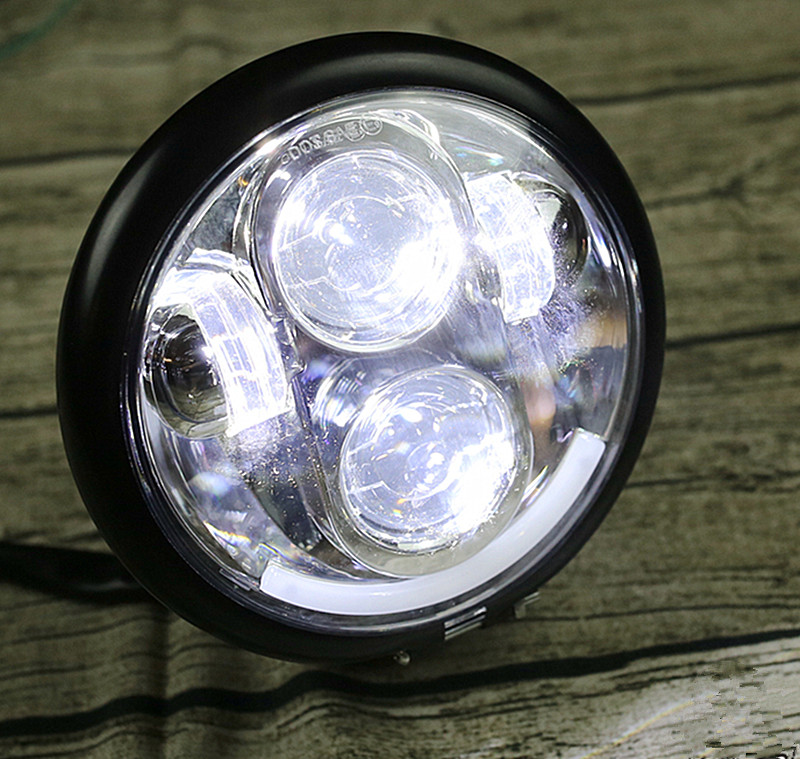 5.75 inch Universal Motorcycle Cafe Racer Headlamp boober chopper Vintage Front light Far light custom LED headlight Spotlight Фара