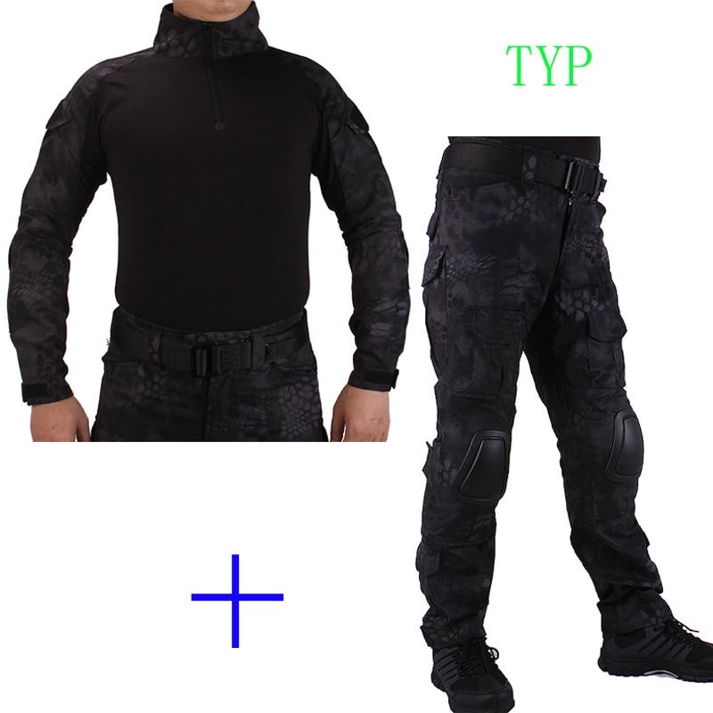 Hunting Camouflage BDU TYP Combat uniform shirt met Broek en Elbow & KneePads militaire cosplay uniform ghilliekostuum jacht