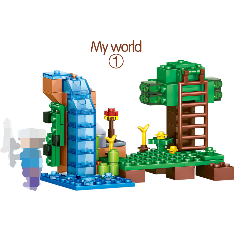 Blocks 1208pcs My World Building Blocks Legoing Minecrafted Village Warhorse City Tree House Waterfall Educational Toys For Children