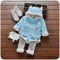 2016 new Autumn/Winter baby girls clothing sets children velvet warm clothes set kids girls cartoon rabbit coats+pants suits