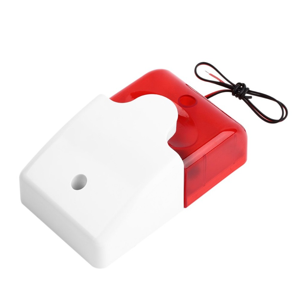 12V DC Sound Alarm Strobe Flashing Red Light Sound Siren 115dB Anti-theft Alarm 103