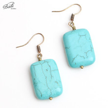Badu Handmade Wholesale Heart/square Blue Turquoise Pendant Dangle Earrings for Women Fashion Jewelry Vintage Party Jewelry vintage gothic style square turquoise multilayered anklet for women
