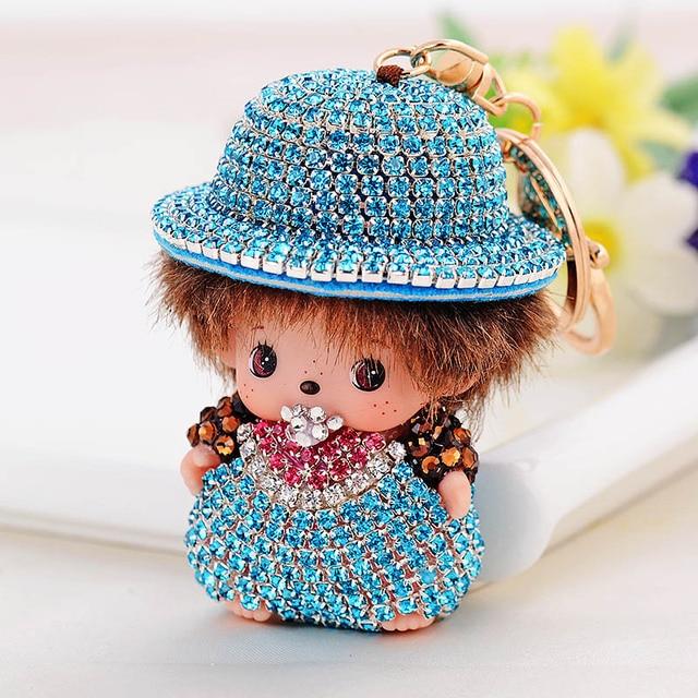 Cartoon Monchichi keychain lovely doll pendant Inlay Crystal Rhinestone Key chain llaveros for woman bag charm porte clef Gift