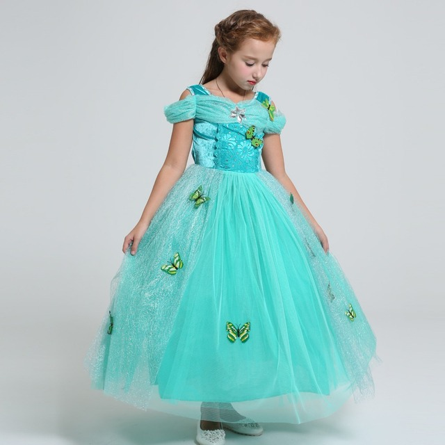 bdd03d17bb76 Summer Belle Elsa costume kids princess Rapunzel Jasmine dress for ...