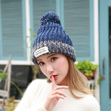 Girls Warm Knitted Hat High Quality Letter Cotton Beanies Hat Add woolen yarn Lining Ball Cap Pompom Winter Hat For Women цены