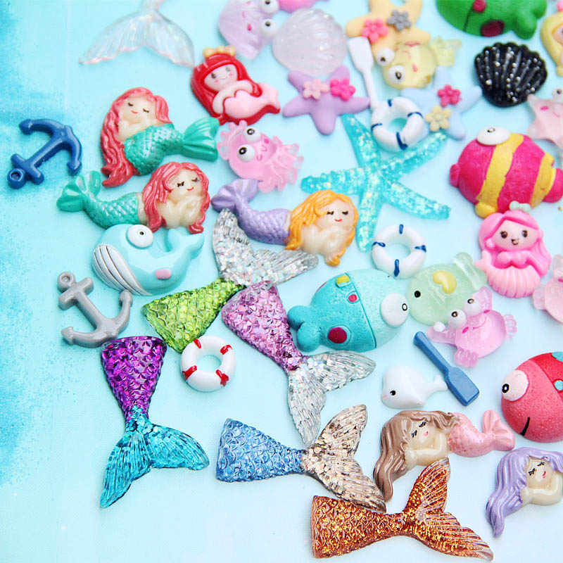 Pack Mini Horse Unicorn Cartoon Ocean Fish Model Miniatures Figurine Decoration Resin Craft Toy Phone Case DIY Kit Accessories