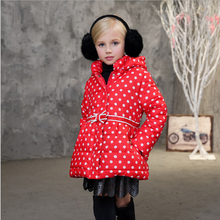 2016 NEW hot arrival girl dot print cotton jakcet coat children winter outwear coat kids winter